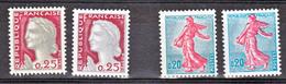 France 1233 B 1263 J Variété Gomme Tropicale  Et Normal Mariannes Neuf ** TB MNH Sin Charnela Cote 13 - Variétés: 1960-69 Neufs