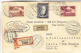Tchècoslovaquie - Lettre Recom De 1931 - Oblit Karlovy Vary - Exp Vers Jalta - Vol Spécial - Cachet De Praha - Czechoslovakia