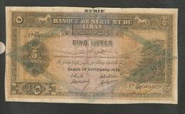 Bank Of Syria And Lebanon 5 Lira 1939 Rare Banknot - Syrie