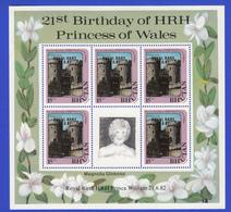 "BHUTAN 1982 Overprinted Stamps ""Royal Baby 21.6.82"" On Minisheet 5x 15 Nu Birthday Princess Diana MNH Scott 361B Bhoutan - Bhutan"