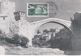 Bosnie-Herzegovine - Le Pont De Mostar - Ex Yougoslavie - Zagreb- 1951 - PA N° 41 Surchargé - Bosnie-Herzegovine