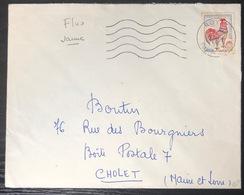France Coq De Decaris FLUO N°1331d Oblitéré Sur Lettre De Royat Pour Cholet Signé Calves RR - 1962-65 Cock Of Decaris