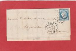 Aude - Lezignan - GC 2027 Sur Cérès  - LAC 1873 - Marcophilie (Lettres)