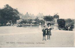 Cpa Paris Jardin Du Luxembourg,la Terrasse. - Parcs, Jardins