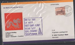 Luftpost Echt Gelaufen     Lufthansa Erstflug  Seoul - Frankfurt      1980 - [7] Federal Republic