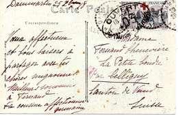 """N° 156 Seul Sur C.P Pour La Suisse Avec Tampon """"ouvert Par L'autorité Militaire Voir Scan Et Description - 1877-1920: Periodo Semi Moderno"""