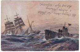 # 9931 Militaria WW1 1918 Postcard Marine Post Mailed:French Ship Sunk By A German Submarine U-Boot In Atlantic Ocean - Weltkrieg 1914-18