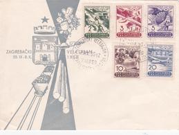 Lettre Yougoslavie - Zagrebački - Velesajam - Série Timbres Poste Aérienne PA 27/31 - 1950 - Poste Aérienne