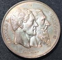 """LEOPOLD II. 5 FRANCS BRONS  1830-1880 TYPE """"CINQUANTENAIRE""""   NIEUW STAAT    4 AFBEELDINGEN - 1831-1865: Léopold I"""