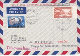 Lettre Yougoslavie - Premier Vol Lufthansa Hamburg-Wien - Timbre N° 698 + PA 32 - 1957 - Airmail