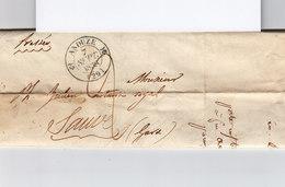 Sur LAC De 1838 Pour Sauve CAD Type 12 Anduze Gard Sept. 1838. Mention Pressée Manuscrite. Taxe Manuscr. (2362x) - Marcophilie (Lettres)