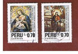 PERU' -  SG 1764.1765 -    1991   CHRISTMAS: COMPLET SET OF 2    - USED° - Perù