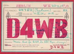 CARTE RADIO AMATEUR – D4WB – Berlin, Germany 1930 - Amateurfunk