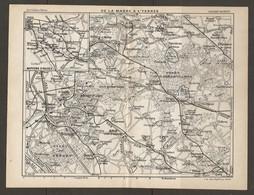 CARTE PLAN 1928 - MOYENS D'ACCES DE LA MARNE A L'YERRES - BRUNOY BRIE OZOIR PRESLES MONTGERON GRETZ - Carte Topografiche