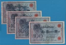 DEUTSCHES REICH LOT 4 X 100 MARK 07.02.1908 P# 33a - [ 2] 1871-1918 : Empire Allemand