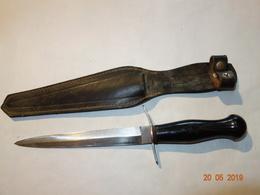 ANCIEN COUTEAU DE LANCER VRAI PARA ETUI CUIR MILITARIA - Knives/Swords