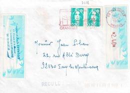 TP N ° 2618 En 2 Ex Et Bande Machine De 2,40 Fr  Sur Enveloppe De Granville - 1961-....