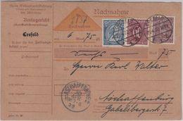 DR - 2 M. Ziffer U.a. Nachnahme Dienstpostkarte Crefeld - Aschaffenburg 1922 - Dienstpost