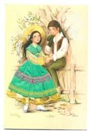 Carte Brodée Couple D' Amoureux Sous Un Arbre Les Editions Vacances 22190 Plerin - Brodées