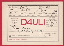 CARTE RADIO AMATEUR – D4ULI – Bamberg, Germany 1930 - Amateurfunk
