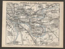 CARTE PLAN 1928 - VINCENNES ET LA BOUCLE DE LA MARNE MONTREUIL LE PERREUX JOINVILLE CHARENTON - Topographical Maps