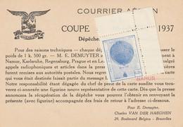 Coupe Gordon Bennett - Courrier Lesté Par Ballon à NAMUR (en Rouge) Avec Vignette 20.3.37 - Poste Aérienne
