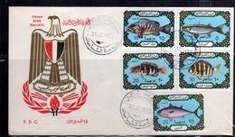 LIBYA LIBIA REPUBLIC GADDAFI ISSUE GHEDDAFI LAR 1973 FISHES PESCI POISSONS COMPLETE SET FDC - Libia