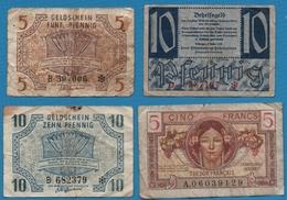 LOT BANKNOTES 4 BILLETS - Monnaies & Billets