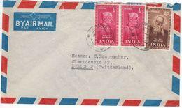Indien - 12 A. Tagore Nobelpreisträger U.a. Luftpostbrief Bombay Zürich 1953 - Entiers Postaux