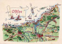 1 Map Of Germany * 1 Ansichtskarte Mit Der Landkarte - Ostsee I Zwischen Kühlungsborn Und Dierhagen * - Landkarten