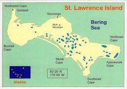 1 Map Of St. Lawrence Island USA Alaska * 1 Ansichtskarte Mit Der Landkarte Der Insel St. Lawrence - Bering Sea * - Landkarten