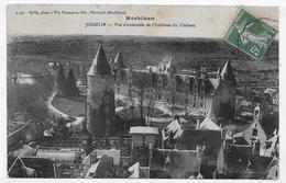 (RECTO / VERSO) JOSSELIN EN 1908 - VUE D' ENSEMBLE INTERIEURE DU CHATEAU - CACHET AMBULANT TRI FERROVIAIRE - CPA VOYAGEE - Josselin