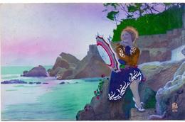 CP - Fantasie - Fantaisie - Vrouw Met Paraplu - Femme Parapluie - Cartes Postales