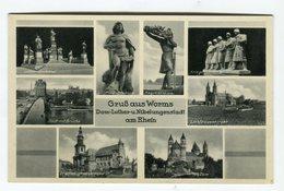 Grub Aus Worms Dom Luther U.Nibelungenstadt Am Rhein - Luther Denkmal Stadt Mit Brucke - Autres