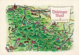 1 Map Of Germany * 1 Ansichtskarte Mit Der Landkarte - Thüringer Wald I * - Landkarten
