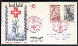 FDC 1955 - 1048 & 1049 Paire Au Profit De La Croix Rouge - 1950-1959