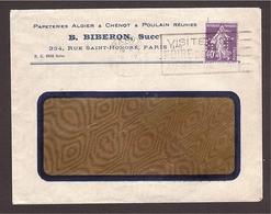 PERFORÉ S/enveloppe Semeuse B.B. Biberon Papeteries 40c Violet 1928 - France