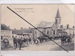 Le Baizil (51) La Place -L'Eglise (importante Animation -calèche, Attelages Agricoles Divers -) - Frankreich
