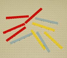 Lego Lot 10 X Plate Rouge Gris Et Jaune 1x10 Ref 4477 - Lego Technic