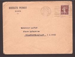 PERFORÉ S/enveloppe Dijon B.P. Biscuits Pernot Semeuse 1932 - France