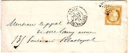 10 C Siege N° 36 Obl Paris 14 Aout 1871 Sur Lettre Locale TTB Cote 200 Euro - Marcophilie (Lettres)
