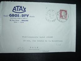LETTRE TP M. DE DECARIS 0,25 OBL.8-4 1964 OULLINS RHONE (69) ATAX Ets GROS & DFV - Marcophilie (Lettres)