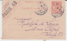 FRANCE CARTE LETTRE PARIS 17 MARS 1906 MOUCHON - Postal Stamped Stationery