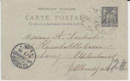 FRANCE ENTIERS POSTAUX PARIS 3 MARS 1899 SAGE - Enteros Postales