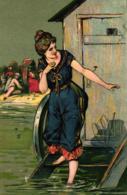 Meer, Dame, Badewagen, Prägekarte, 1905 - 1900-1949