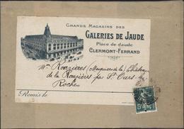 Bande Journal Illustrée Grands Magasins Des Galeries De Jaude Clermont Ferrand YT 137 CAD Clermont Ferrand 5 5 09 ? - 1877-1920: Semi-Moderne