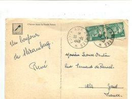2 X 4F Gandon Vert Sur Cp, Oblitération POSTE AUX ARMEES 1948 - Basée En Allemagne - Marcophilie (Lettres)