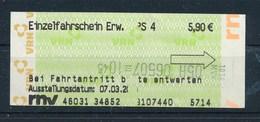BRD Mannheim Einzelfahrschein Strassenbahn / Bus PS 4 RNV Verkehrsverbund Rhein-Neckar - Europe