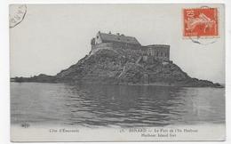 (RECTO / VERSO)DINARD EN 1917 - N° 23 - LE FORT DE L' ILE HARBOUR - CACHET AMBULANT TRI FERROVIAIRE - CPA VOYAGEE - Dinard