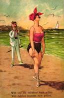 Dame Am Strand, Von Einem Mann Verfolgt, Sign. Arthur Thiele, Um 1920/30 - Thiele, Arthur